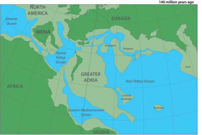 Kërkuesit publikojnë hartë të detajuar të kontinentit të zhdukur Adria e Madhe